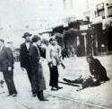 "This photograph, which appeared on the front page of the newspaper Ριζοσπάστης on May 10, 1936, shows a mother mourning over the dead body of her son, Tassos Toussis, a factory worker who had just been killed by police at a demonstration by striking workers in the city of Thessaloniki. This image led Yiannis Ritsos to compose the poem that is now known as the ""Epitaphios (᾿Επιτάφιος),"" imagined as a lament sung by the mourning mother in the photograph. (Published with permission.)"