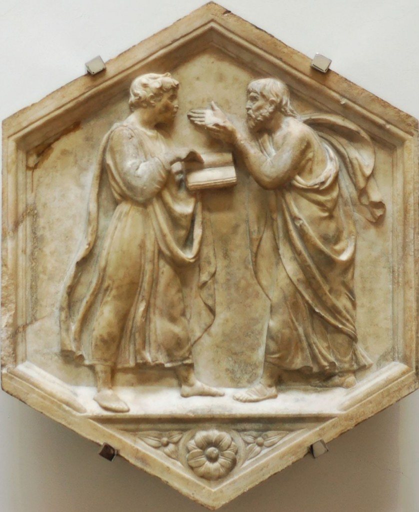 Plato and Aristotle, or Philosophy. Marble panel from the North side, lower basement of the bell tower of Florence, Italy. Museo dell'Opera del Duomo. Image by Luca della Robbia [Public domain], via Wikimedia Commons