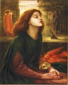 "Charles Fairfax, Murray's replica of ""Beata Beatrix"" by Dante Gabriel Rossetti [Public domain], via Wikimedia Commons, shows a young woman with a read dove and sundial"