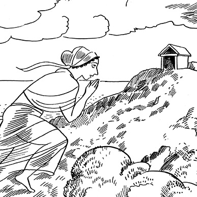 Detail from cartoon by Glynnis Fawkes showing a women climbing a hill with a temple on top.