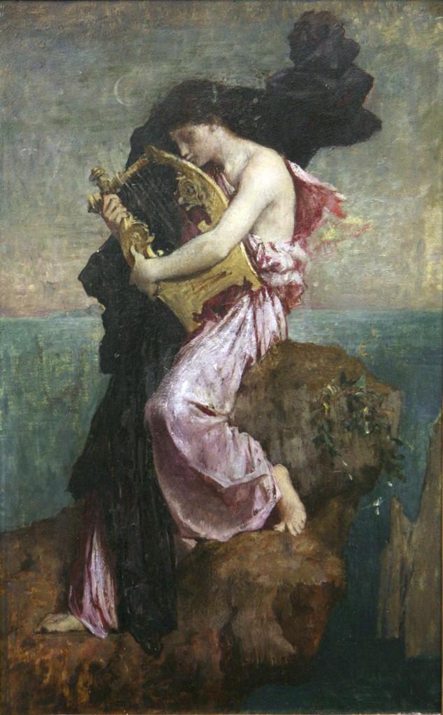 "Jules-Élie Delaunay (1828–1891), ""Sappho embrassant sa lyre."" Image via Wikimedia Commons."