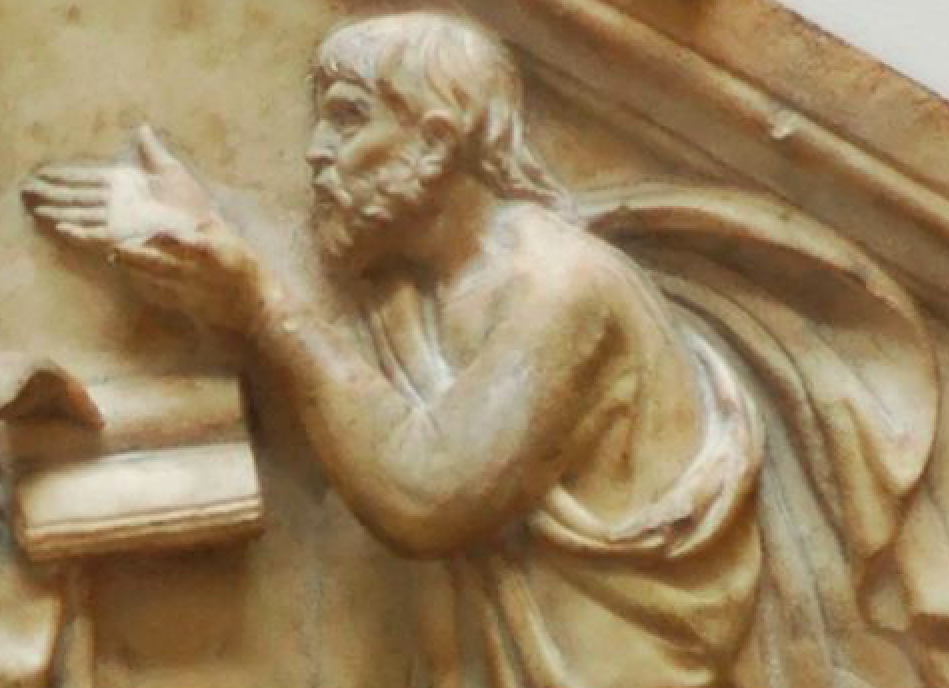 Detail of marble panel featuring Plato and Aristotle, or Philosophy. From the north side, lower basement of the bell tower of Florence, Italy. Museo dell'Opera del Duomo. Image by Luca della Robbia [Public domain], via Wikimedia Commons