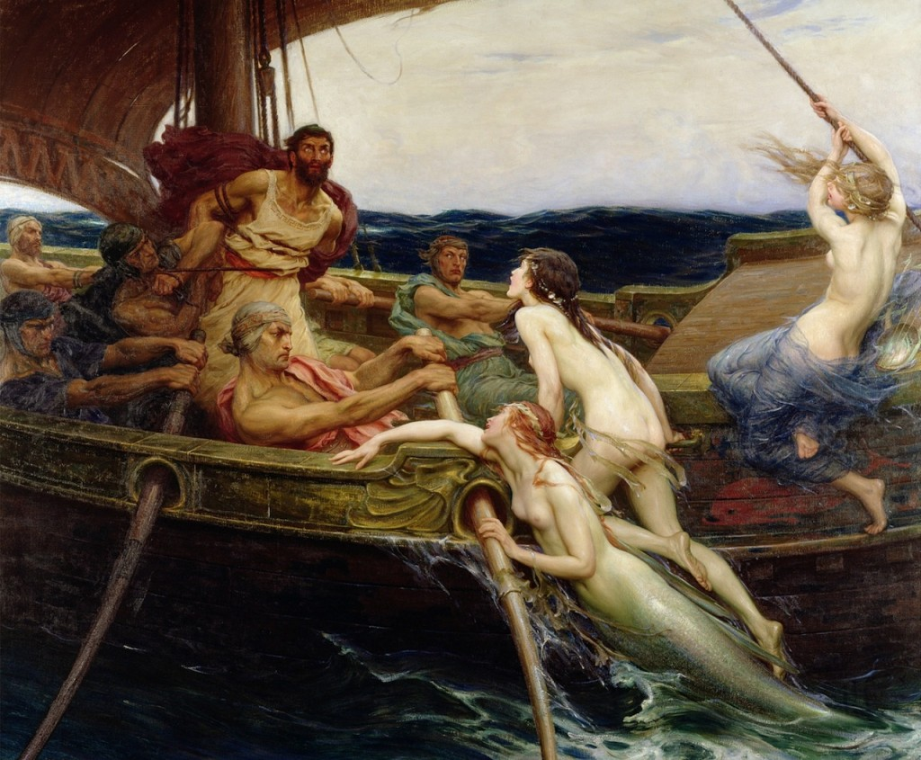 """Ulysses and the Sirens"" (1909), by Herbert James Draper (English, 1864–1920); oil on canvas, 176.9x213.4 cm; Ferens Art Gallery, Hull Museums, UK."