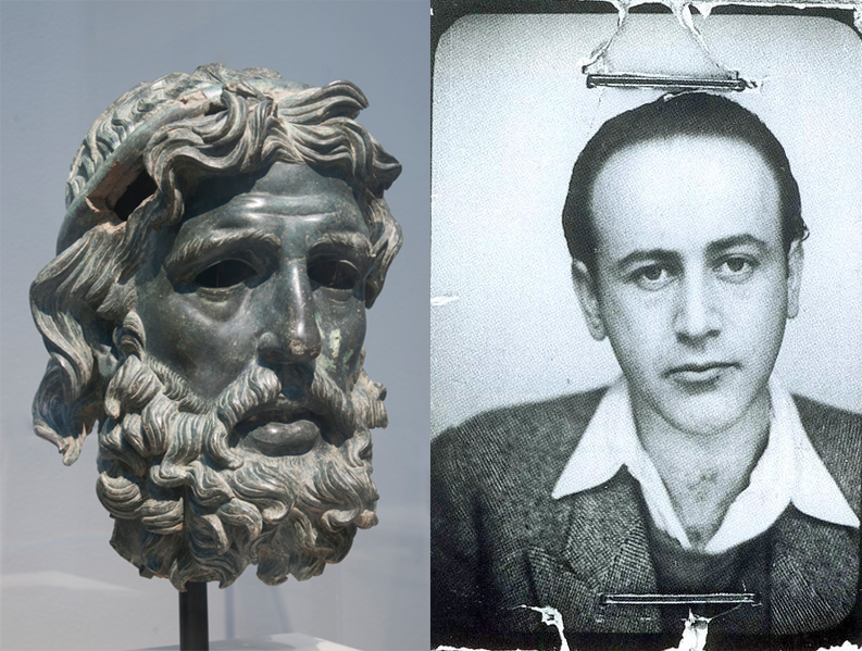 Bronze head of Homer, in the Museum of Fine Arts, Houston. Photo by Rob Shelley. Passport photo of Paul Celan, with staples visible, 1938, public domain, via Wikimedia Commons.