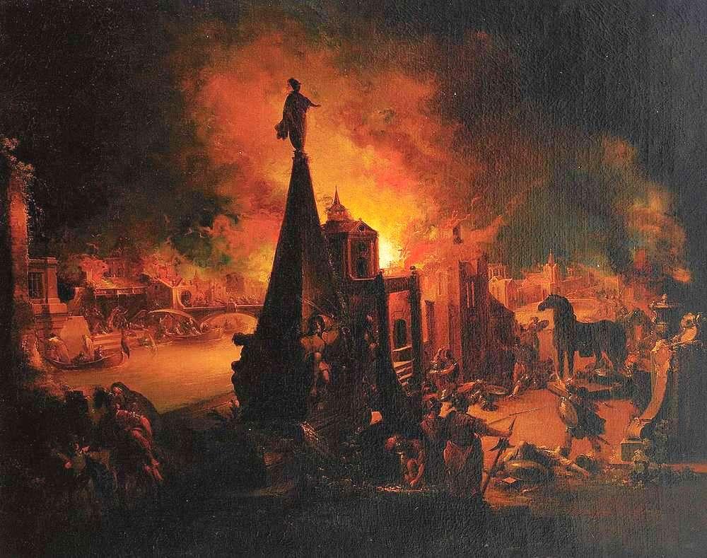 """""""The Burning of Troy"""" by Johann Georg Trautmann (1713–1769) (http://www.zeller.de/) [Public domain], via Wikimedia Commons"""