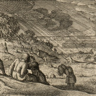 etching showing the great flood. Illustration from A tour in Wales by Thomas Pennant [Public domain], via Wikimedia Commons