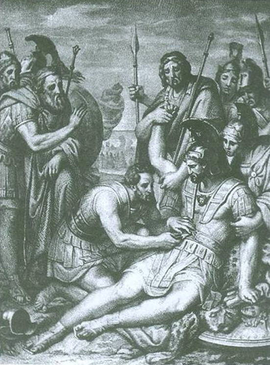 Image: The heart Mahhaon attends to the wounded Menelaos.  Engraving by Francesco Nenci for an edition of the <i>Iliad</i> published in 1838.