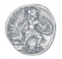 Coin showing Protesilaos disembarking from a ship onto the shore at Troy.