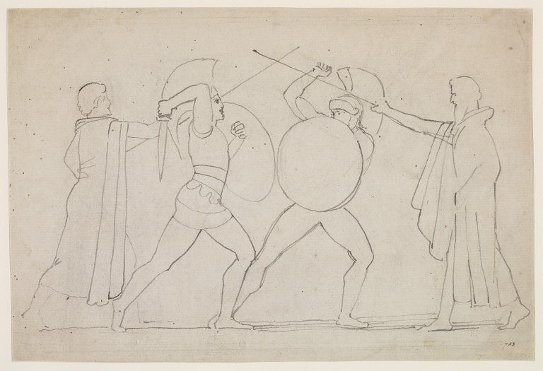 Hector and Ajax separated by heralds, pen and ink drawing by John Flaxman, 1790's