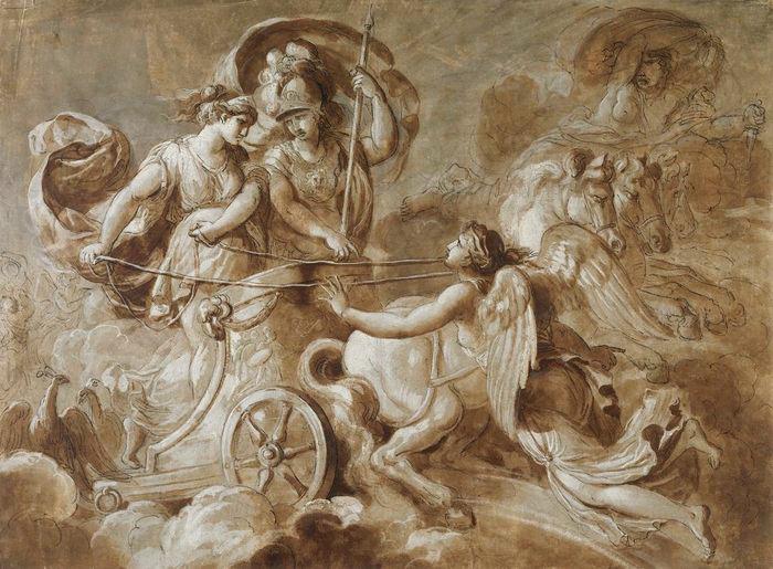 """Hera, Athena and Iris in the Trojan War,"" Jacques Réattu (1760–1833). Image via Wikimedia Commons."