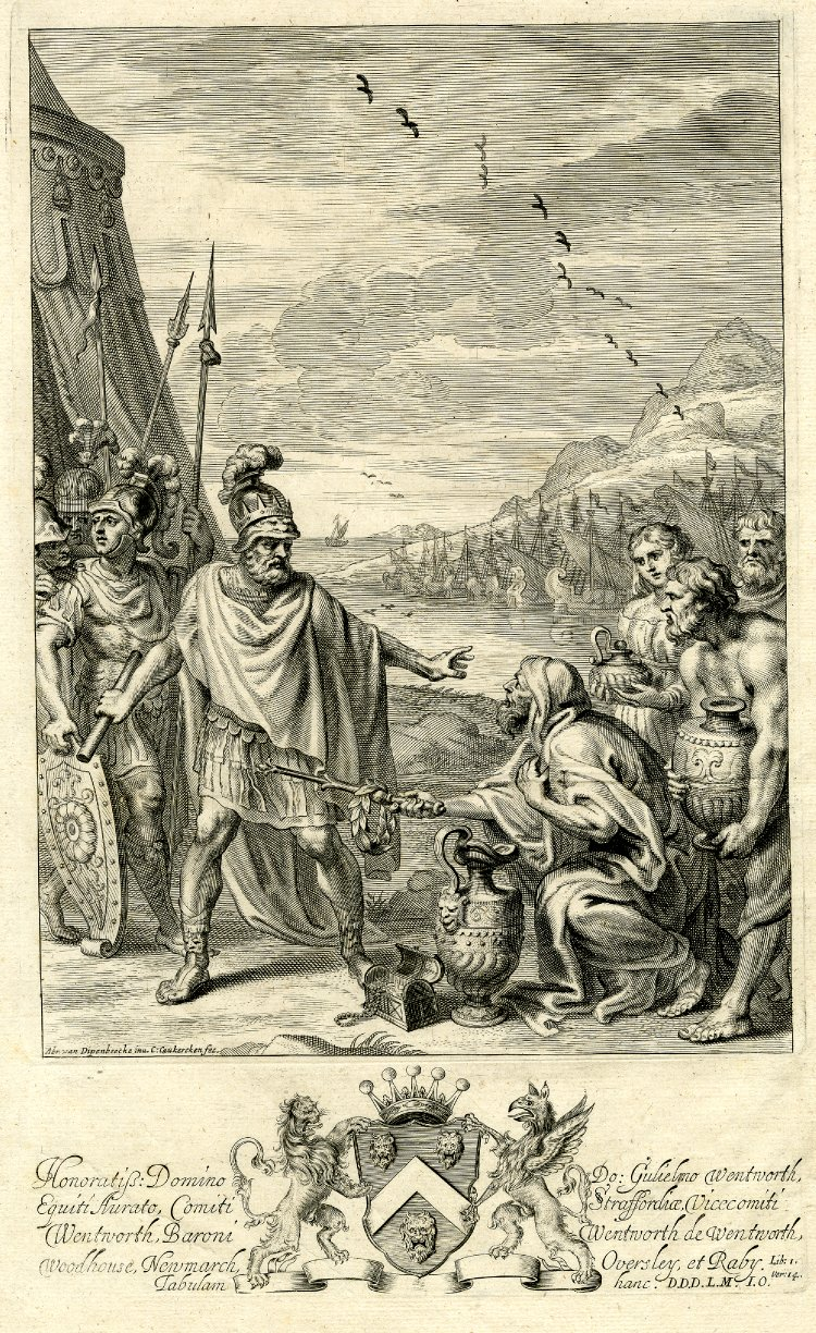Agamemnon rejects the gifts offered by Chryses. 1660 engraving for John Ogilby's Iliad.