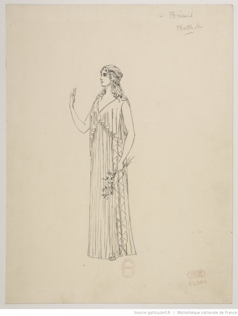 Briseis (1899); sketch for a costume. Charles Bianchini (French, 1860–1905). Image via.