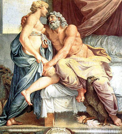 """Juno and Jupiter. Detail from """"Loves of the Gods,"""" fresco by Annibale Carracci (1560–1609). Annibale Carracci [Public domain], via Wikimedia Commons, https://commons.wikimedia.org/wiki/File:Carracci_-_Jupiter_et_Junon.jpeg."""