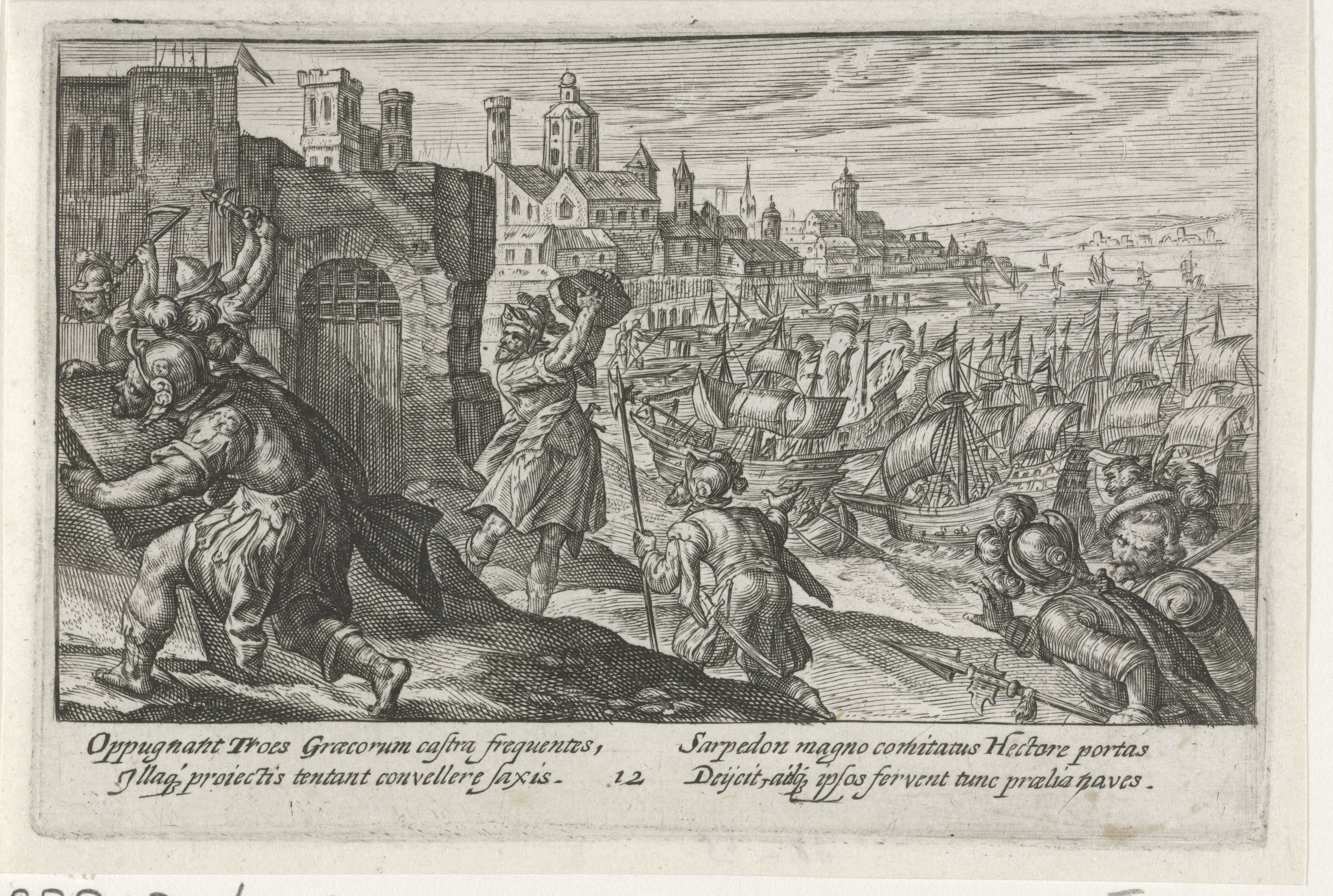 """""""Siege of the Greek Camp."""" Crispijn van de Passe (I) (1613). via Rijks Museum.<br> (https://www.rijksmuseum.nl/en/collection/RP-P-OB-16.043)"""