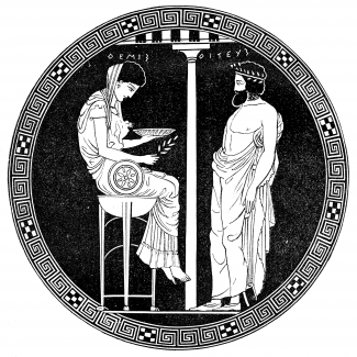 "Themis, as the prototype of the Pythia, seated on the Delphic tripod, consulted by Aigeus. Attic red-figure, attributed to the Codrus Painter, ca. 430 BCE. Antikenmuseen, Berlin. Illustration from ""Illustrerad verldshistoria utgifven av E. Wallis. volume I."" 1875. Photo of illustration by Ernst Wallis et al. (own scan) [Public domain], via Wikimedia Commons."
