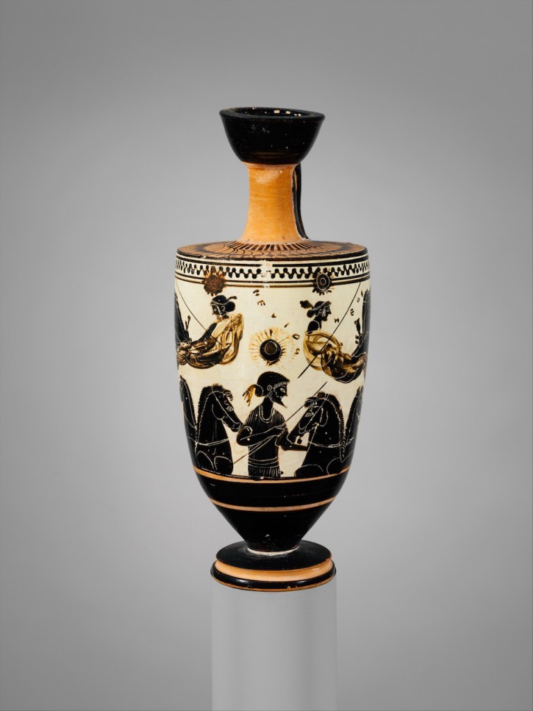 http://www.metmuseum.org/art/collection/search/254196 : Attributed to the Sappho Painter, Terracotta lekythos (oil flask), ca. 500 B.C., Terracotta, H. 6 13/16 in. (17.3 cm); diameter  2 13/16 in. (7.2 cm). The Metropolitan Museum of Art, New York. Rogers Fund, 1941 (41.162.29)