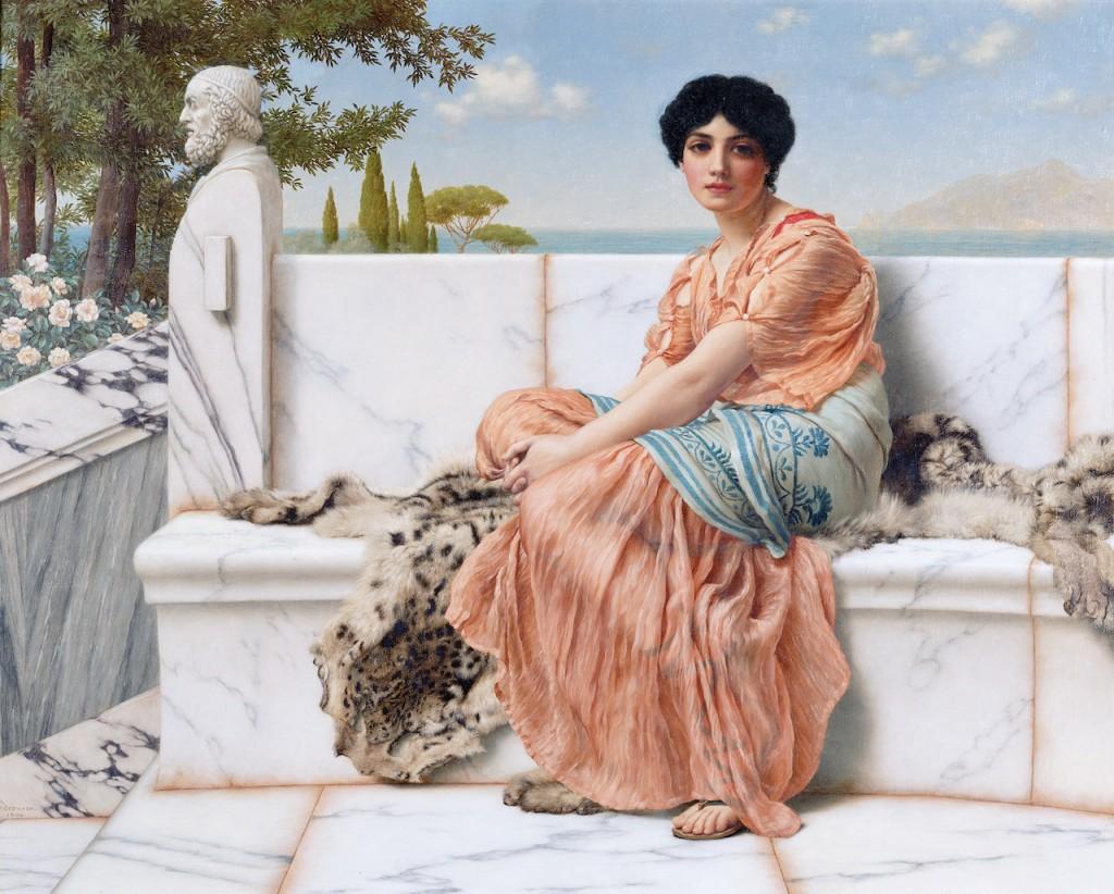 """In the Days of Sappho"" (1904). John William Godward (British, 1861–1922). Image via Wikimedia Commons."