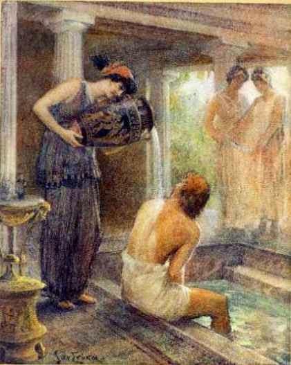 Bains de Télémaque [Baths of Telemachus], from Odyssée d'Homère by Jan Styka. 2 vols. Paris: Société générale d'imprimerie et d'édition, 1922-1923.
