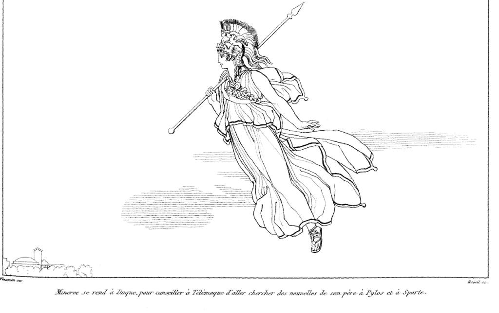 Athena (1810). Drawing by John Flaxman.Image via Wikimedia Commons.