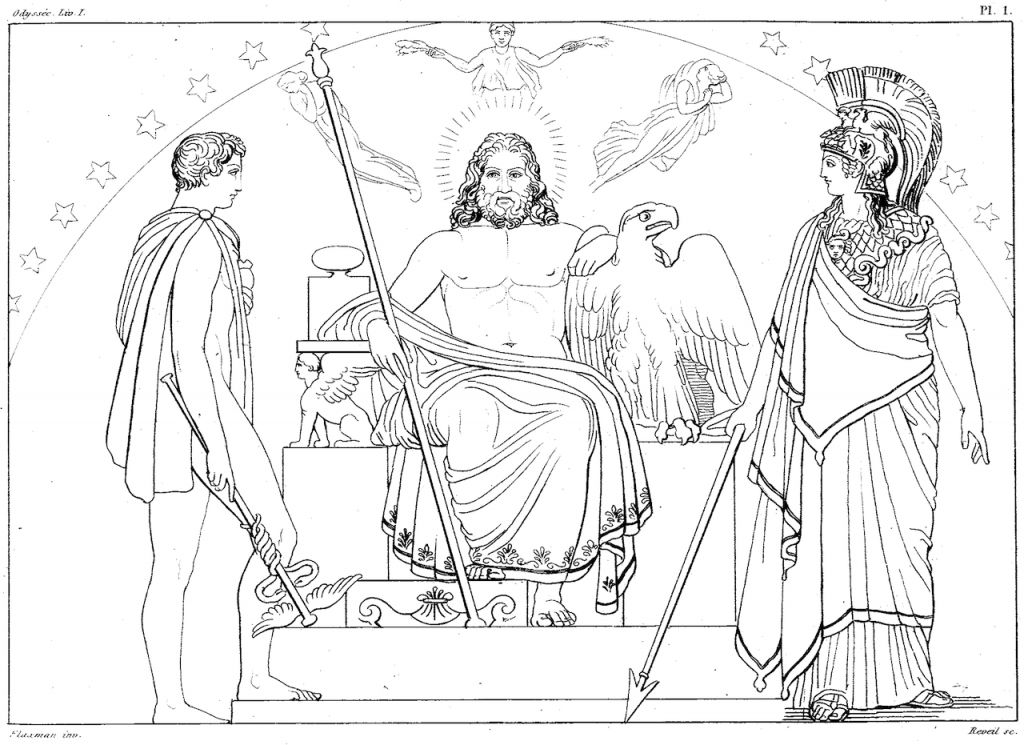 Zeus, Athena, and Hermes (1810). Drawing by John Flaxman.Image via Wikimedia Commons.