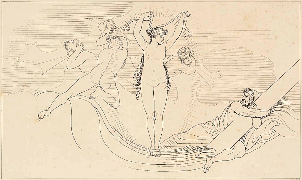 """Leucothea, the White Goddess, Preserving Ulysses"" (1805). John Flaxman (1755–1826). Purchased as part of the Oppé Collection with assistance from the National Lottery through the Heritage Lottery Fund, 1996. Image via the Tate.  http://www.tate.org.uk/art/work/T11195"