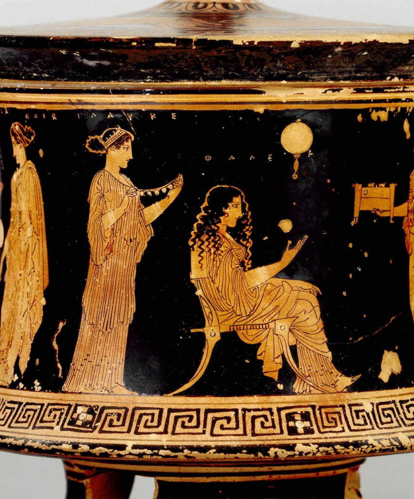 "Red-figured pyxis, picturing Nereids at home, ""indoors"": the Nereid with her hair down is labeled as Thaleia.Image via The British Museum."
