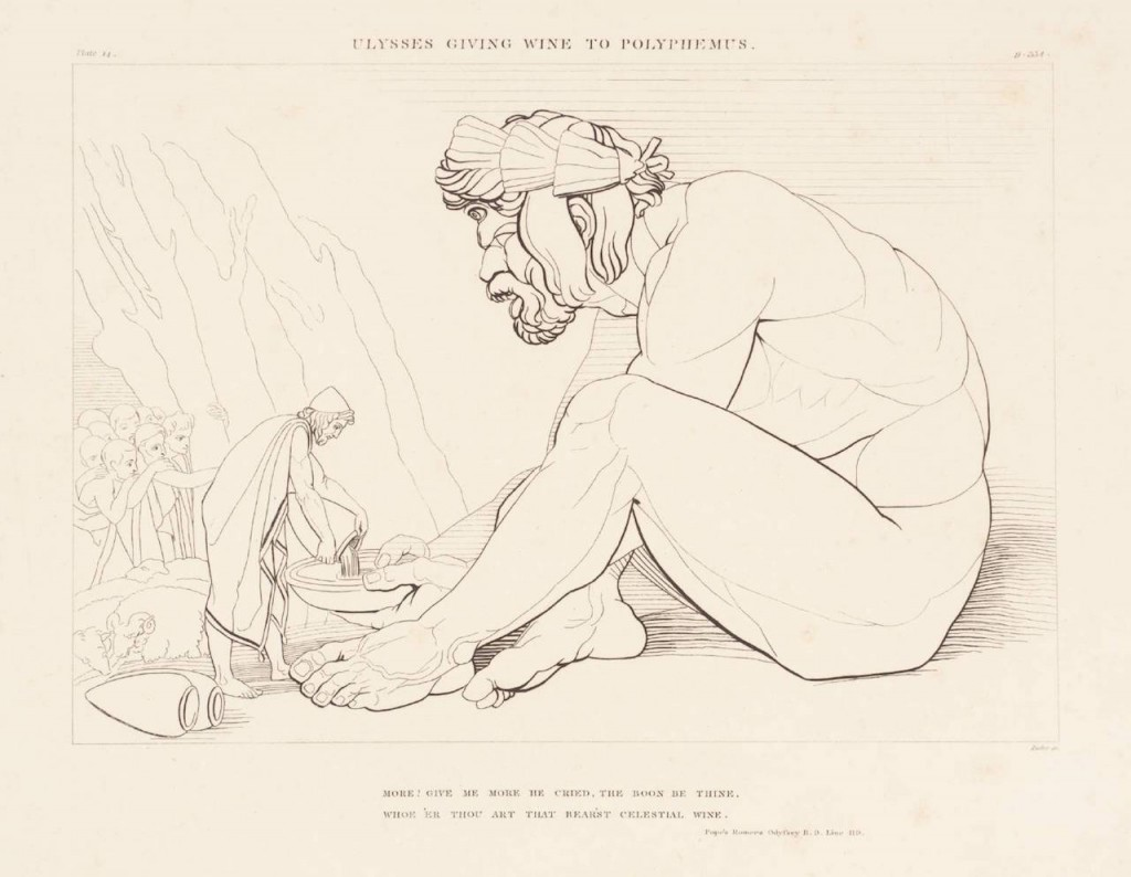 Ulysses Giving Wine to Polyphemus 1805 John Flaxman 1755-1826 Purchased as part of the Oppé Collection with assistance from the National Lottery through the Heritage Lottery Fund 1996 http://www.tate.org.uk/art/work/T11200