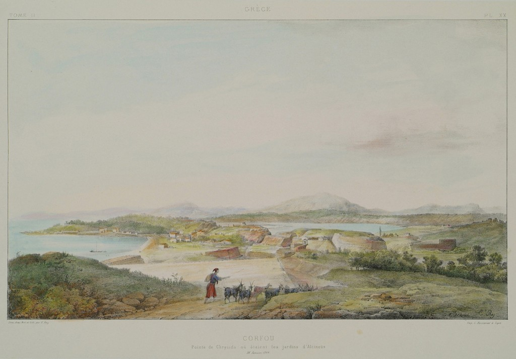 View of Garitsa, region right outside the northern walls of the city of Corfu, and according to the legend the site of Alcinous's gardens (1867). Étienne Rey (French, 1789–1867). Image via the Aikaterini Laskaridis Foundation.