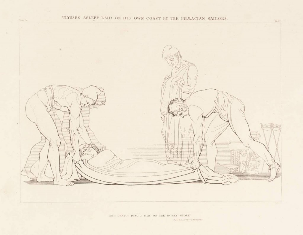 """Ulysses Asleep Laid on his Own Coast by the Phaeacian Sailors"" (1805). John Flaxman (1755–1826). Purchased as part of the Oppé Collection with assistance from the National Lottery through the Heritage Lottery Fund 1996. Image via the Tate."
