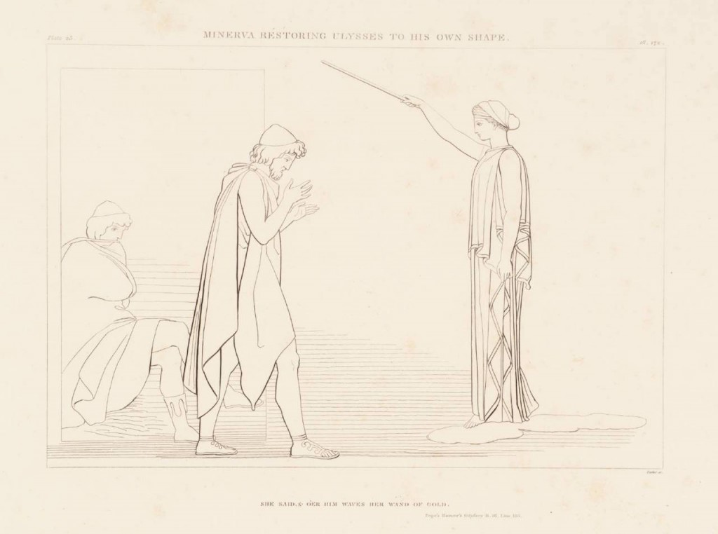 """Minerva Restoring Ulysses to his Own Shape"" (1805). John Flaxman (English, 1755–1826). Purchased as part of the Oppé Collection with assistance from the National Lottery through the Heritage Lottery Fund 1996.Image via the Tate."