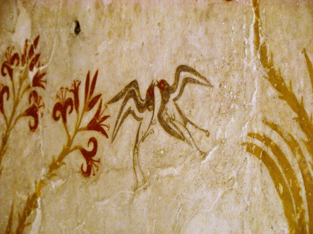Swallows, detail of the Spring Fresco at Thera, image via Flickr user F. Tronchin, reproduced under a CC BY-NC-ND 2.0 license.