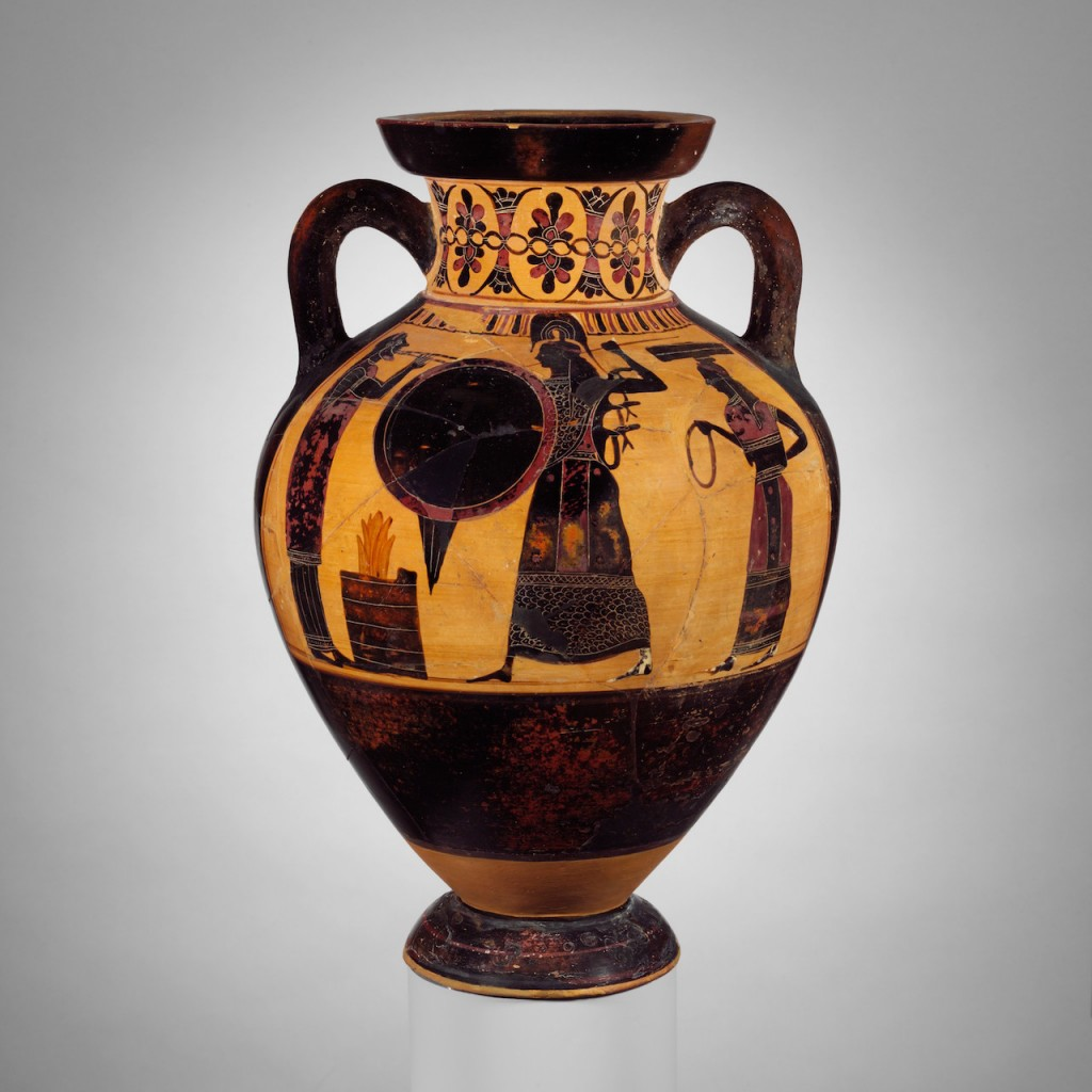 Bringing the peplos to Athena. Terracotta neck-amphora of Panathenaic shape (jar), ca. 550–540 BCE, attributed to the Princeton Painter. Height 7 3/8 in. (18.7 cm), diameter of mouth 6 11/16 in. (17 cm).