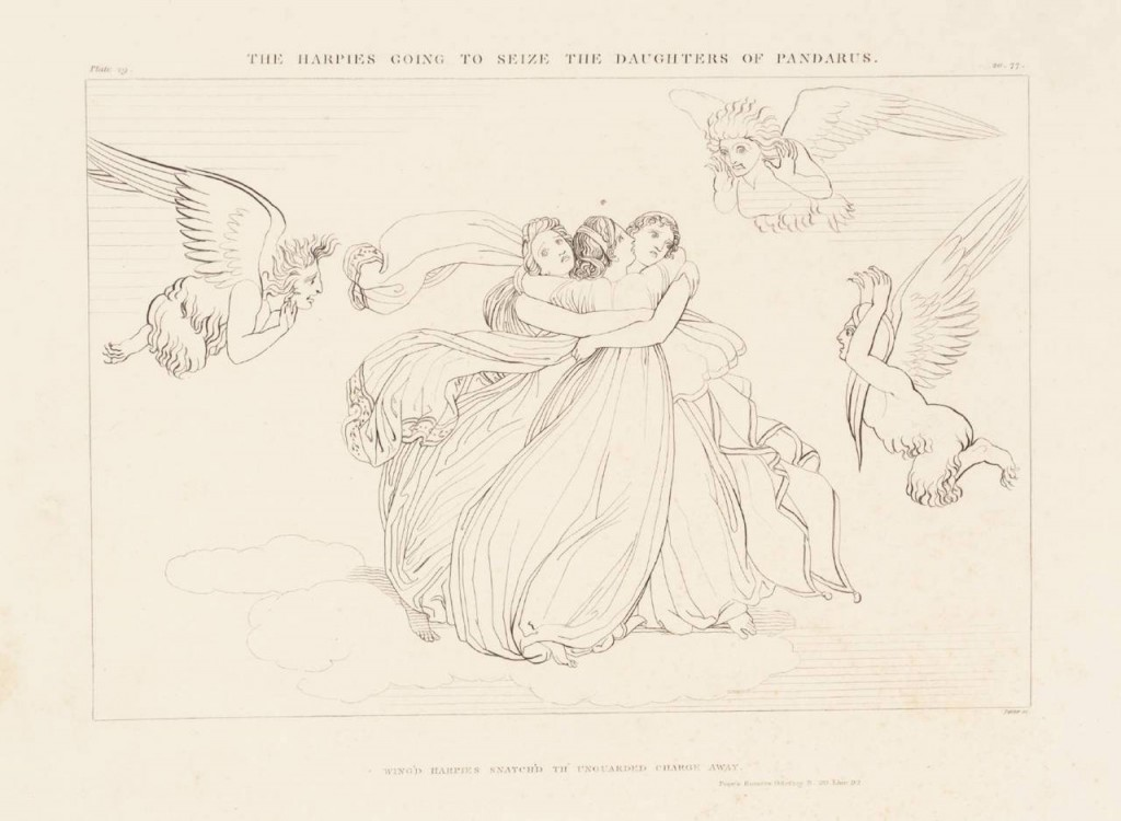 """The Harpies Going to Seize the Daughters of Pandarus"" (1805). John Flaxman (English, 1755–1826). Purchased as part of the Oppé Collection with assistance from the National Lottery through the Heritage Lottery Fund 1996. Image via the Tate."