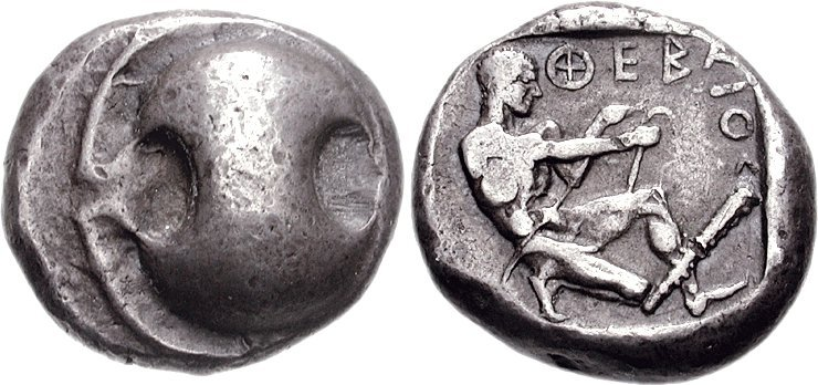 Hēraklēs stringing a bow. Silver stater, c. 450–440 BCE, Thebes (Boeotia).Image via Wikimedia Commons.