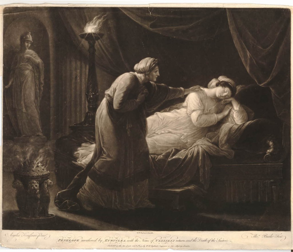Eurykleia waking Penelope (1773). Print by Thomas Burke, after a painting by Angelika Kauffmann. Image via the British Museum.
