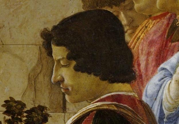 Lorenzo de' Medici, depicted in Sandro Botticelli's Adoration of the Magi. Image via Wikimedia Commons.