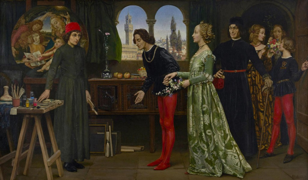 "Lorenzo the Magnificent as the generous patron, Botticelli as the glorifying artist. ""Botticelli's studio: The first visit of Simonetta presented by Giulio and Lorenzo de Medici,"" (1922). Eleanor Fortescue-Brickdale (English, 1872–1945). Image via Wikimedia Commons."
