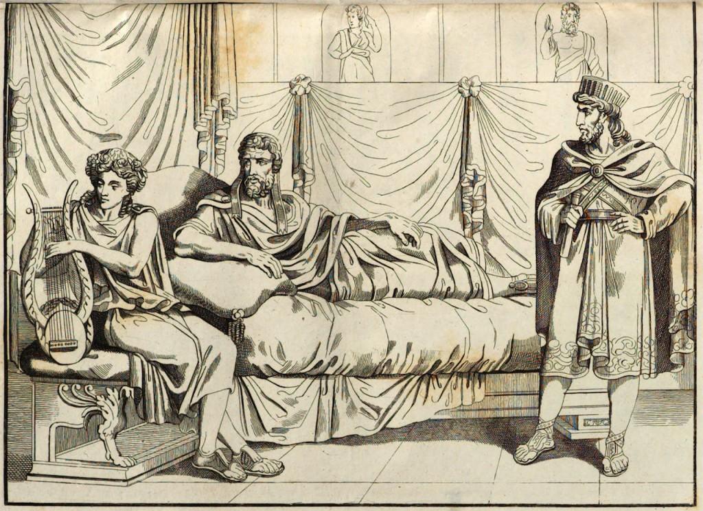 Engraving of Polycrates and Anacreon. From Vorzeit und Gegenwart: Eine historische Lese-Gabe zur Unterhaltung und Belehrung für alle Stände (1832, lfg. 40), after p. 158.