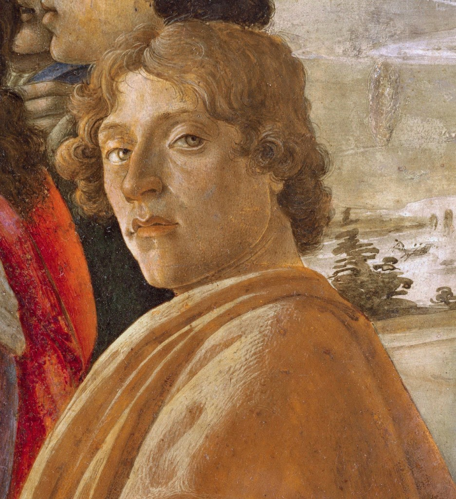 Probable self-portrait of Sandro Botticelli, in his Adoration of the Magi. Image via Wikimedia Commons.