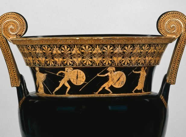 Achilles in combat with Hector, flanked by Athena and Apollo (all named). Red-figure volute krater by the Berlin Painter, ca. 490–460 BCE. London, British Museum, Vase E468. Image via the British Museum.