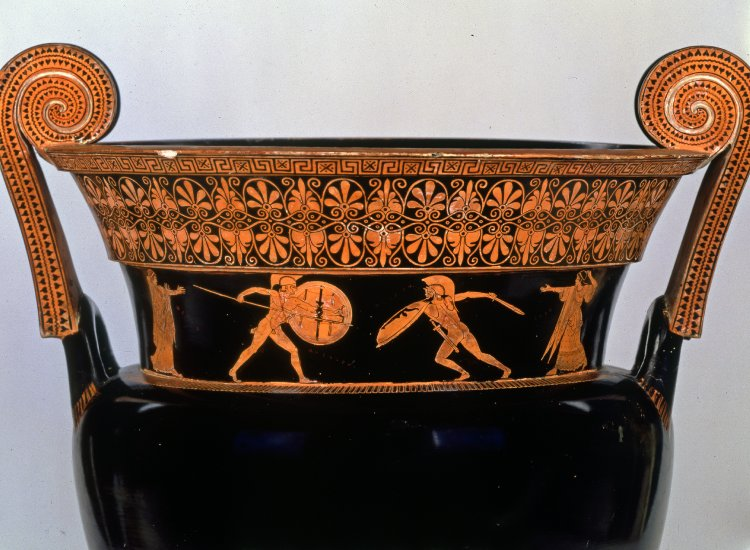 Achilles in combat with Memnon, flanked by Thetis and Eos (all named). Red-figure volute krater by the Berlin Painter, ca. 490–460 BCE. London, British Museum, Vase E468. Image via the British Museum.
