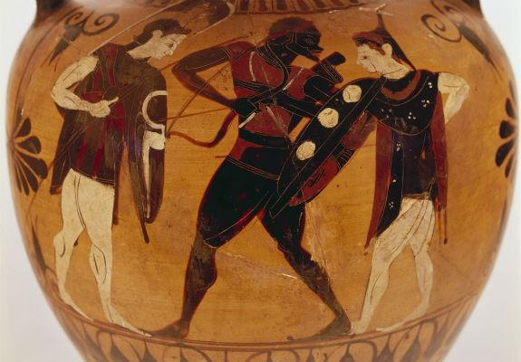 "Archer with ""African"" features (possibly Memnon), flanked by a pair of Amazons. Black-figure neck amphora by the Swing Painter, ca. 550–500 BCE.  Brussels, Musees Royaux, A130. Image via Wikimedia Commons."
