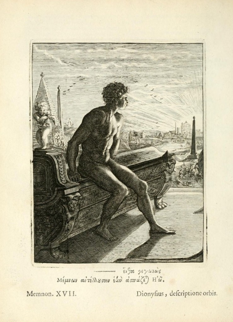 Memnon, son of Eos and Tithonos. Engraving by Bernard Picart (1673–1733), after Michel de Marolles, Tableaux du temple des muses (Amsterdam,1676). Image via Wikimedia Commons.
