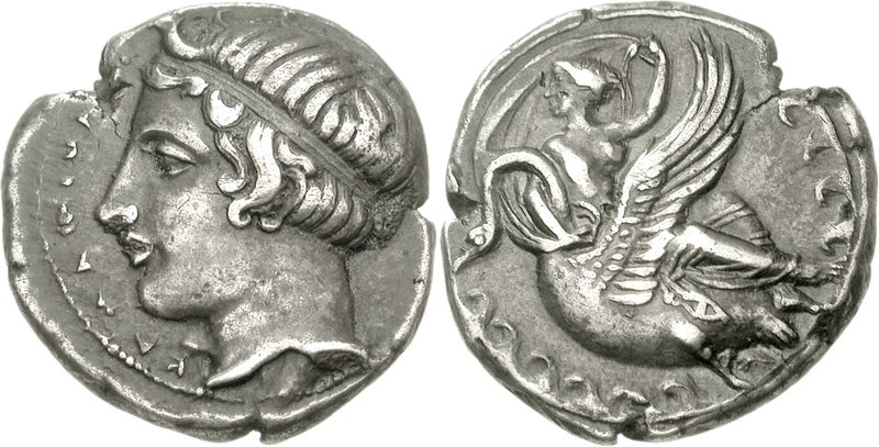 Sicilia, Camarina. Circa 415–405 BCE. AR Didrachm (8.20 g, 12h).  Horned head of young river-god Hipparis left, wearing taina; KAMAPINA before Nymph Kamarina, holding up her veil in her left hand, reclining right, head left, on swan swimming left; waves around.  Image via Wikimedia Commons.