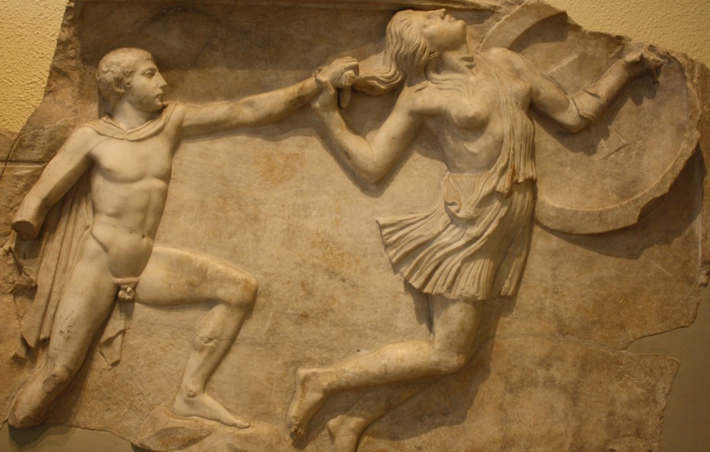 Amazonomachy: an Athenian pursuing an Amazon. Roman relief, 2nd century CE. Image via.