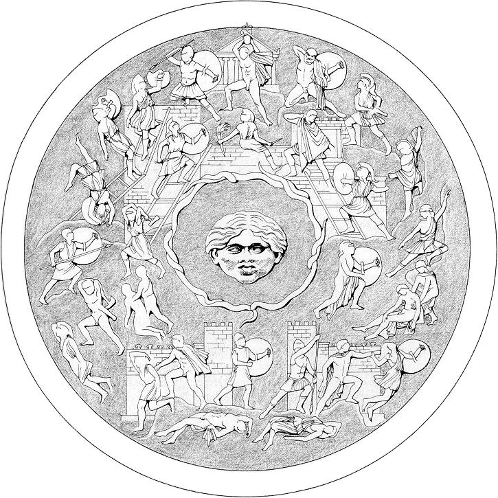 Shield of Athena, reconstruction. Image via.