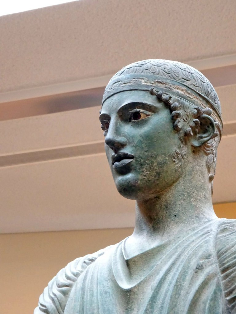 Close-up of the Charioteer of Delphi. Photo by Sarah Scott.