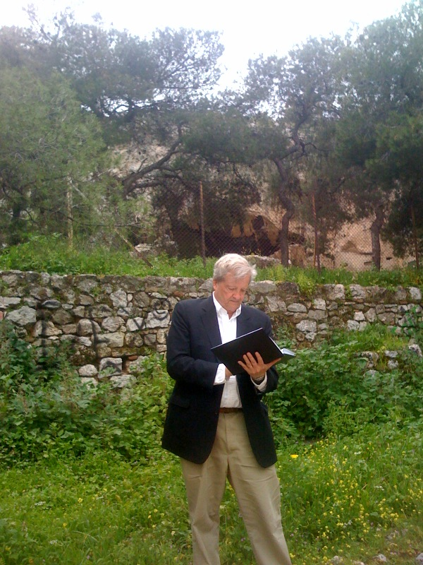 The author in front of the Cave of the Eumenides. Photo by Olga M. Davidson.