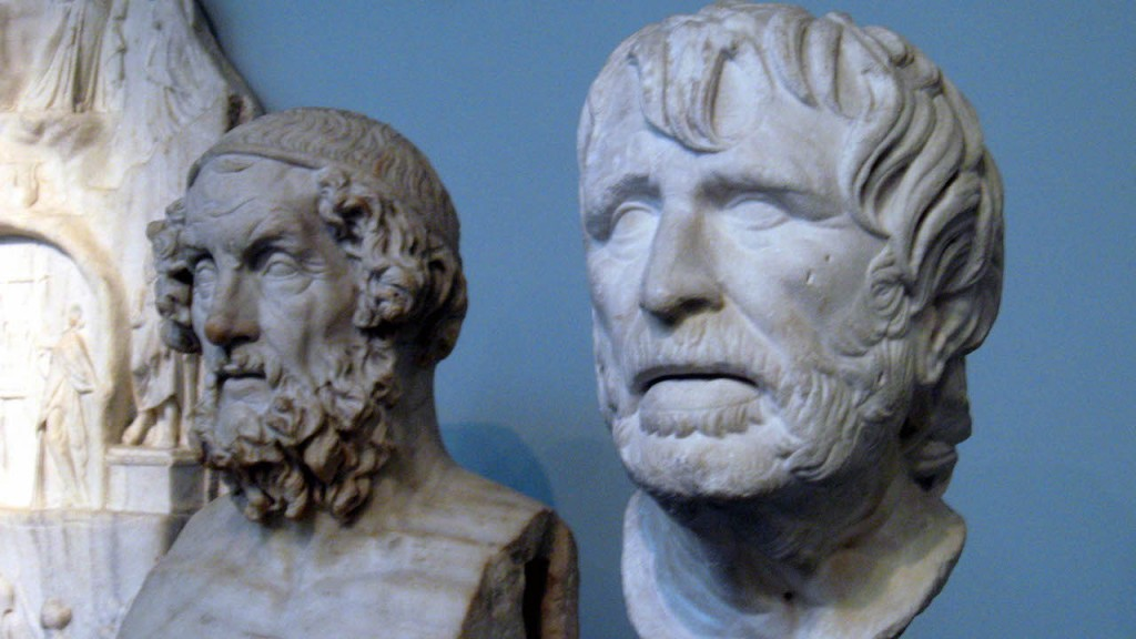 Busts of Homer (left) and Hesiod in the British Museum.