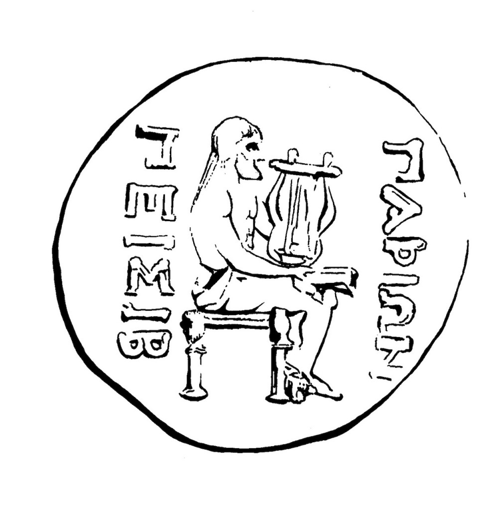 Silver coin from Paros, dated to the first century BCE. Plate 31 and Catalogue VI 31 in Clay 2004, with commentary at pp. 61–62. There is also an image of the coin in Zanker 1995 Figure 86a. Pictured is Archilochus of Paros, seated on a <em>diphros</em>, holding a lyre in his left hand and a papyrus scroll in his right. The inscription to the right of the poet reads ΠΑΡΙΩΝ 'of the people of Paros'; on the left, it reads ΠΕΙΣΙΒ, referring to the archon of the state at the time of minting, Peisiboulos. The other side of the coin pictures the god Dionysus, wearing a garland of ivy.